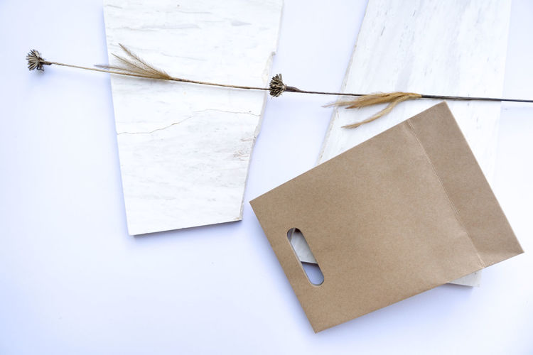 A paper bag with dry flower was placed on a white background,Top view, flat lay Package Design Rope Shopping Show Square Blank Design Display Empty Exhibition Gift High Angle View Luxry Marble Marketing No People Pack Package Packaging Paper Retail  Shop Space Stone White Color