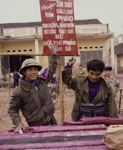 1993 Army Hat Firecrackers Grin Hanoi Lunar New Year Pink Smiling Tết Vietnam Vietnamese