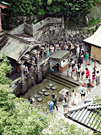 High angle view of people at buddhist temple