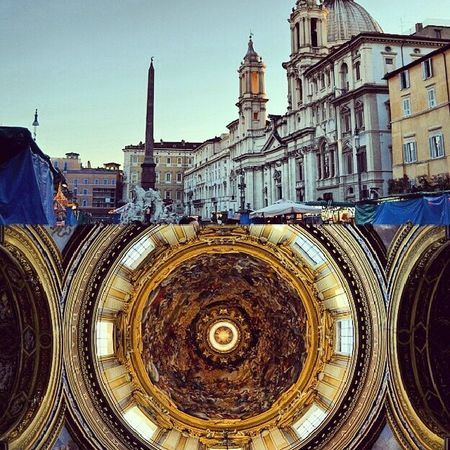 ?? PiazzaNavona Trip Italy Rome Cathedral cupola square collage obelisk building