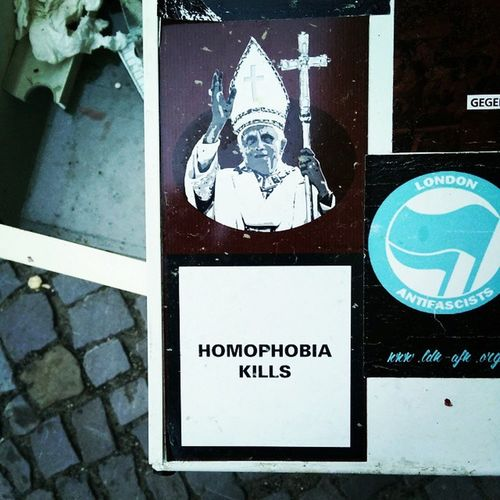 Homophobia Gayrights Fuckthepope Berlin Gayberlin Instagay Instalesbians Lgbt Homo  Berlinstagram Berliner Hashtagwhore Stickers Pope Ratzinger