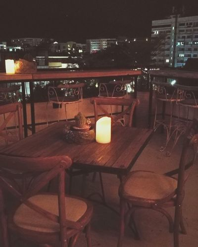 Chair Night Table No People Indoors  Bar - Drink Establishment Illuminated Food Thailand Chiangmai,Thailand Romantic Relaxing