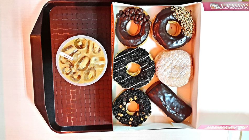I can never resist chocolate doughnuts and mocha. Foodporn Foodgasm Dunkindonuts DunkinCoffee Mydinner Chocolateaddict Triplechocolate OpenEdit