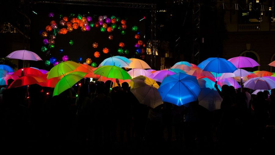 Crowd Low Key Multi Colored Outdoors Silhouette Umbrellas First Eyeem Photo