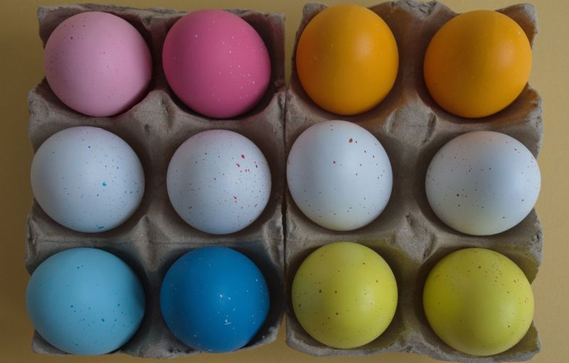 Egg Food And Drink Food In A Row Indoors  Multi Colored Side By Side Easter Still Life Order Large Group Of Objects No People Celebration Directly Above Easter Egg Choice Colorful Multicolored Pastel Holidays Tradition Traditional Painted