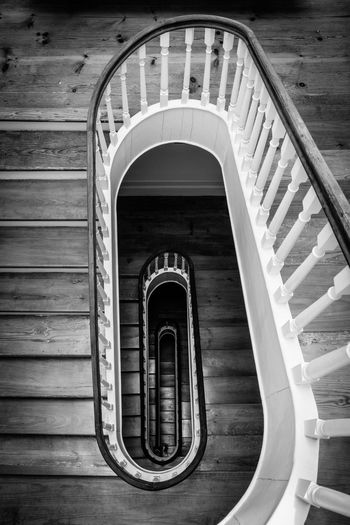 Black & White Black And White Staircase Steps And Staircases Spiral Building Railing Architecture Wood - Material Blackandwhite