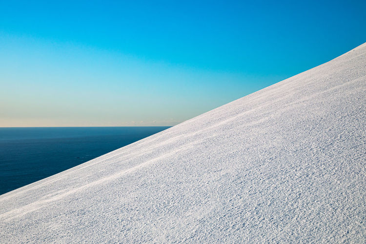 Scenic view of mountain and sea against clear blue sky