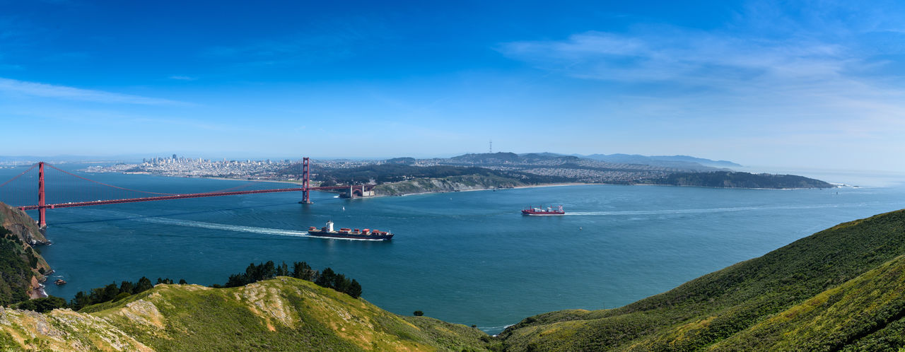 Beauty In Nature Blue Cloud - Sky Coastline Day Golden Gate Bridge Idyllic Landscape Mode Of Transport Mountain Nature No People Outdoors Panorama San Francisco Scenics Sea Ships Sky Tourism Tranquility Travel Destinations Water California Dreamin