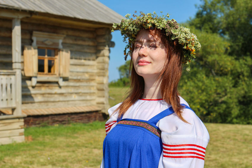 Photo of a young girl in the Russian national dress. Summer Summertime Young Girl Young National Costume National Clothes National Dress Wreath Circlet Of Flowers Russian Girl Russian Clothes Russian Dress Outdoors Outdoor Photography Capture Tomorrow