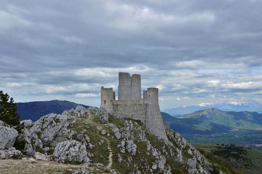 Abruzzo - Italy Architecture Beauty In Nature Citadel Cloud - Sky Cloudy D3200 Day Europe Fortress History Italy Landscape Mountain Mountain Range Nature Nikon No People Outdoors Rock Sky Stronghold Tranquility Travel Destinations