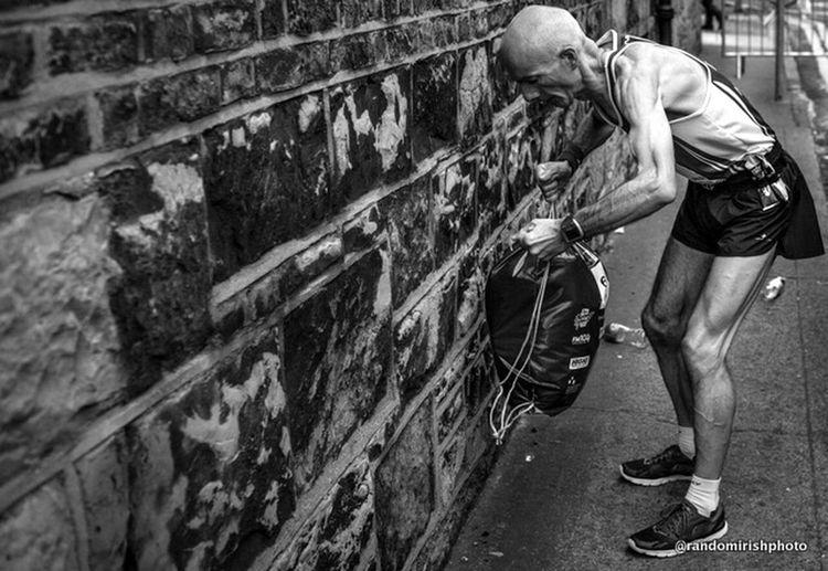 An elite runner moments before the start of this morning's Dublin city marathon. Dublin Street Photography EE_Daily: Black And White Ireland Marathon