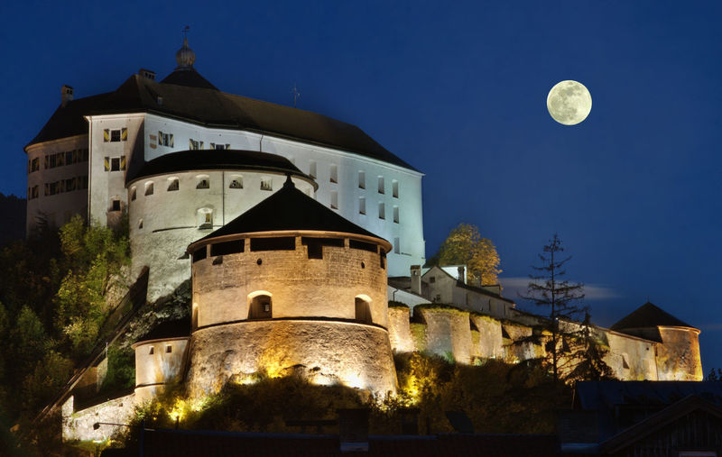 Austria Kufstein Building Castle Culture Full Moon HDR History Night Vollmond