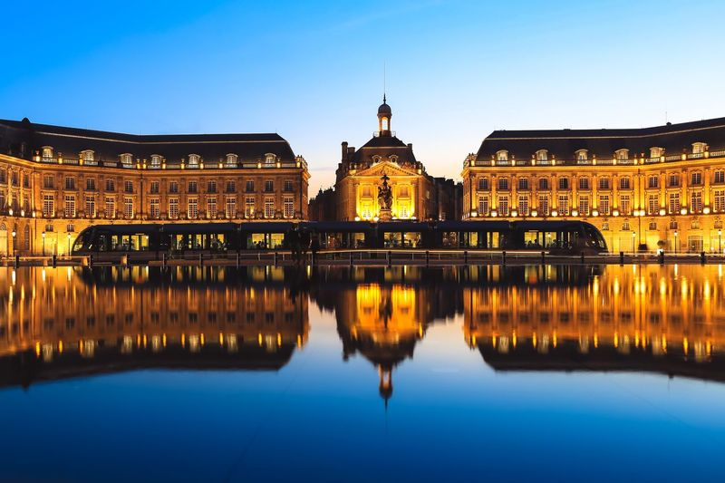 Place de la bourse square and tram in bordeaux city, france