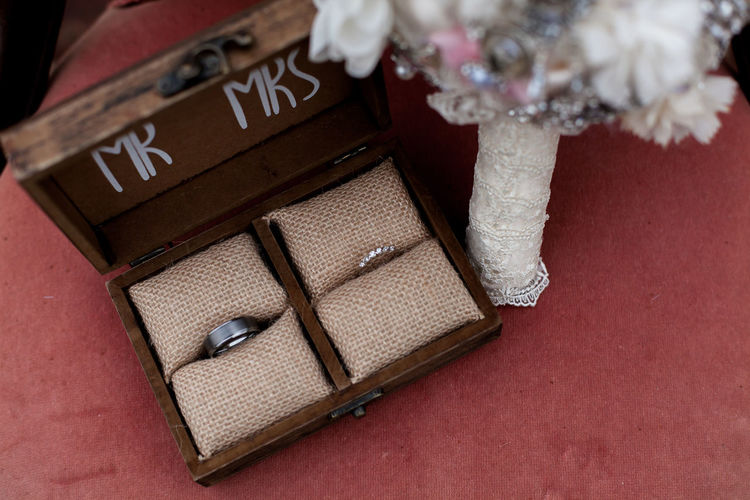 High Angle View Of Rings In Box