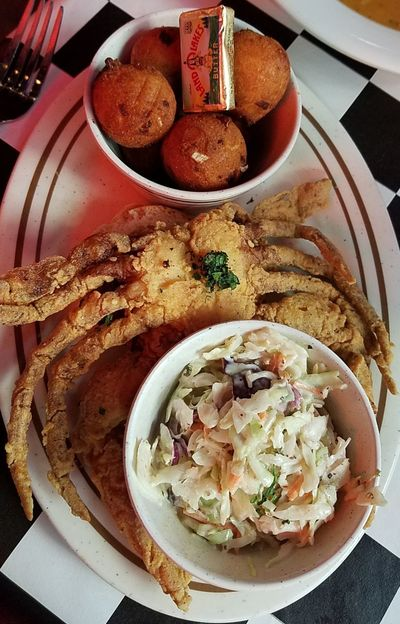 soft shell crab Soft Shell Crab Hush Puppies SLAW Acme Oyster House New Orleans, LA Seafood Fried Food French Quarter Plate Bowl Table Directly Above High Angle View Close-up Food And Drink