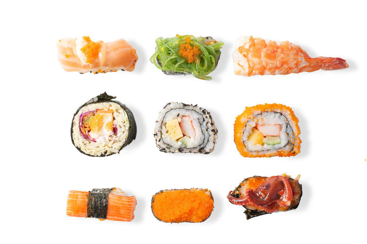 Food And Drink Food White Background Freshness Still Life Studio Shot Indoors  Ready-to-eat Cut Out Seafood No People Healthy Eating Meat High Angle View Wellbeing Indulgence Salmon - Seafood Fish Directly Above Close-up Japanese Food Snack Temptation