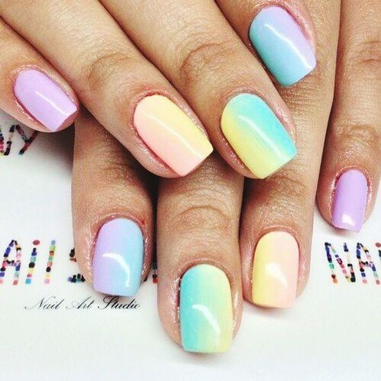 маникюр  ногтики радуга гельлак