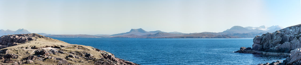 Photo Merge Photography Scotland Beauty In Nature Day Landscape Mountain Mountain Range Nature No People Outdoors Panoramic Rock - Object Scenics Sea Sky Vierw From Mellon Udrigle Of Gruinard Island Water Tranquility Tranquil Scene