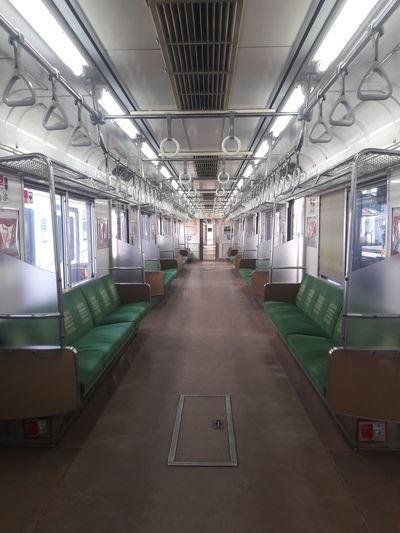 Interior of empty subway train