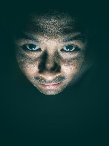 Masculanity Man Asian  Portrait Looking At Camera Human Face One Person Adults Only Human Body Part Close-up Black Background