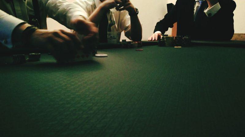 Men Poker Night Poker Chips Pokerface Sitting Sitting Men Surface Level Person