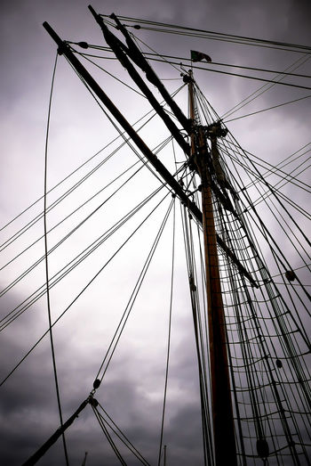 Rigging Jacobs Ladder Lines Wooden Blocks Wooden Boat Classic Boats Cloud - Sky Day Flag Mammal Mast No People Outdoors Rigging Ropes Sillouette Sky Spreaders Square Rigged Stays Wooden Mast Wooden Ship Wooden Spreaders