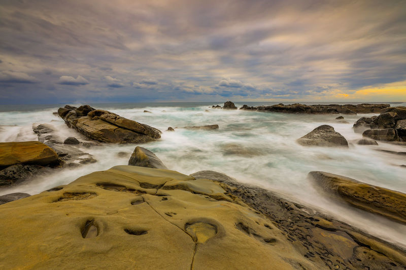 Interesting rocky landscape of the beautiful eastern coastline of taitung, taiwan