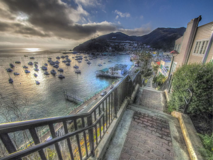 Catalina Island  Stairs View From Above Top Of The Stairs Staircase Harbor View Boats And Water Sunset Tourism Tourist Destination