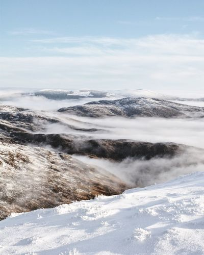 Shades of Winter Mountain View Scotland Shades Of Winter Beauty In Nature Cloud - Sky Cold Temperature Landscape Mountain Range Mountain_collection Mountains And Sky Nature No People Outdoors Scenics Scotlandsbeauty Sky Snow Tranquil Scene Tranquility Winter