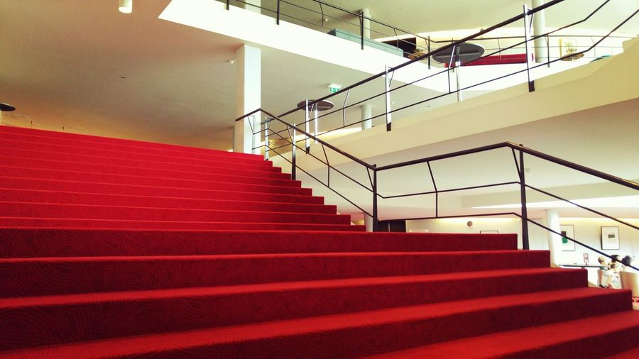 Railing Steps And Staircases Staircase Steps Indoors  Architecture No People Day Red Red Color Red Steps Low Angle View