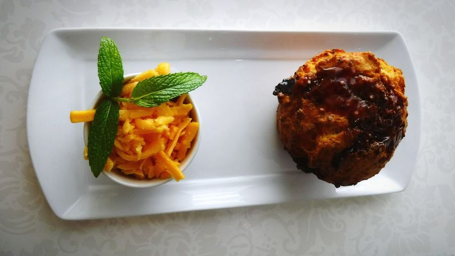 Biltong Marmite Muffin 🐮 ~ Food Stories Baked Goods Meal Hungry Tasty Presentation Muffins Biltong South Africa Local Food Cheddar Grated Cheese Mint Leaves White Plate Lunch