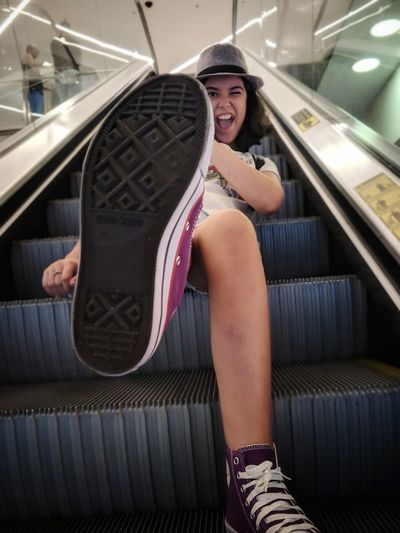 Action Empowerment  Shoe Shoes Shoes Sole Sole Of Foot Sole Girl Teenager Teenage Girls Teenager Girl International Women's Day 2019 Young Women Sitting City Smiling Steps And Staircases Women Steps Stairs Staircase Escalator Subway Station Moving Down Subway