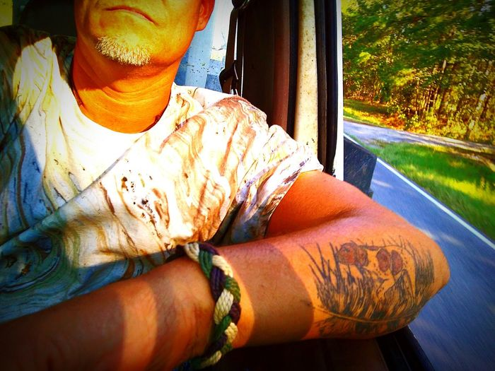 Huntingdogtattoo Driving Tyedyed Dogtattoo Inked Feathertattoo Mansbestfriend Inkeddude Pookie  Onpoint Close-up EyeEm Best Shots Tanned Skin ThatsMe