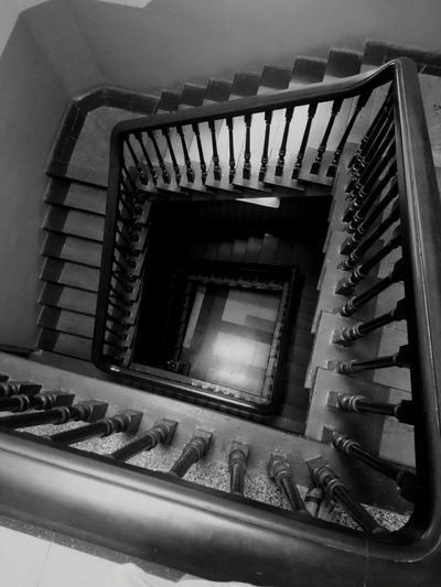 Ascend. Indoors  Steps Steps And Staircases Spiral Staircase No People High Angle View Built Structure Railing First Eyeem Photo Fresh On Eyeem  Monochrome Photography