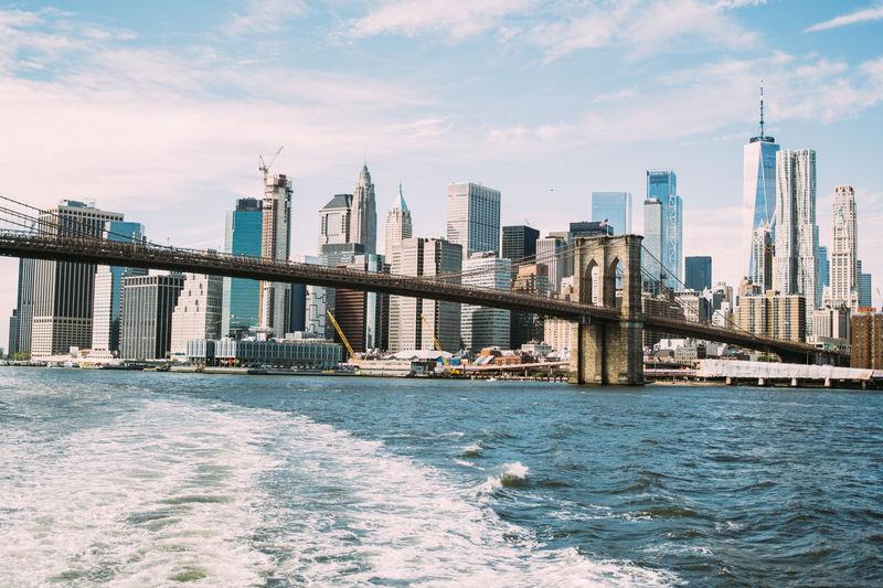 New York City Water Brooklyn Bridge  Outdoors Bridge Urban Skyline Waterfront Architecture Cityscape
