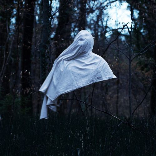 White ghost against trees in forest
