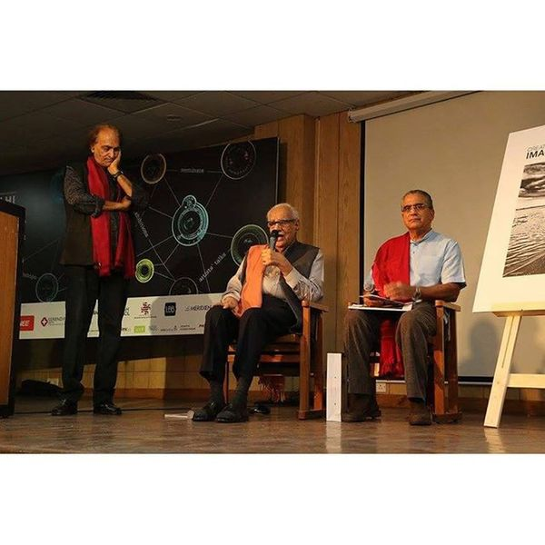"Veteran journalist Kuldip Nayar speaks during the launch of ""Creative Image Magazine"" while Raghu Rai listens to him during Delhi Photo Festival . RaghuRai Delhiphotofestival Magnumphotos Dpf"