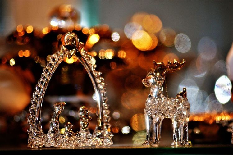 Raindeer Sparkling Brokeh_collection Christmas Decoration Clear Glass Glass Ornaments Gold Colored