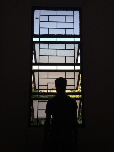 Rear view of silhouette man in window