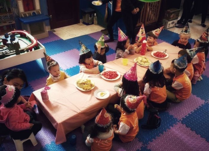 Tiny Tots Birthday Celebration 🎉 🎊👶 In Colour Tinny Tots Birthday Party Long Table Setting In School Food And Drink Decoration High Angle View Indoors  Food Food And Drink Table Childhood Real People Arrangement Freshness Sitting Casual Clothing Day