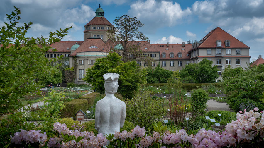 Munich, Bavaria, Germany - May 23, 2019. München-Nymphenburg Botanical garden on a spring day featuring the main building and the pond Menzinger Arboreturm Garden Munich Botanical Germany Building Bavaria Green Park Tourism Landmark Botany Nature Vegetation Plant Landscape Seasonal Historic Flowers Spring Season  Outdoors Scene Flora Leaves Trees Attraction Popular Lush Natural Colorful Bright Floral View Sunny Blossom Peaceful Vivid Panorama Pond Staatssammlung München State Collection Editorial  Architecture Building Exterior No People Human Representation