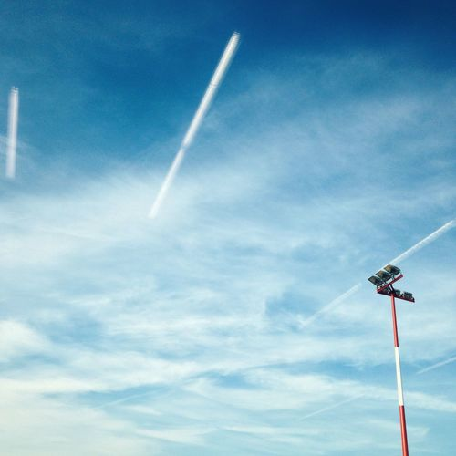 Blue Contrail Day Low Angle View Nature No People Outdoors Sky Technology Vapor Trail