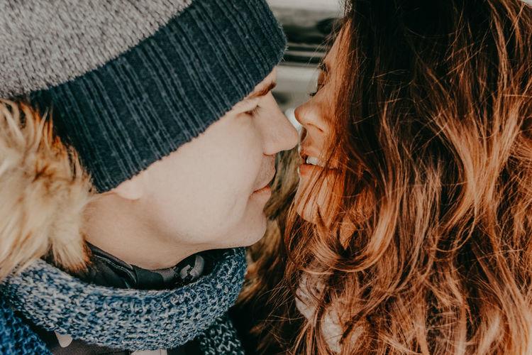Close-up of romantic couple