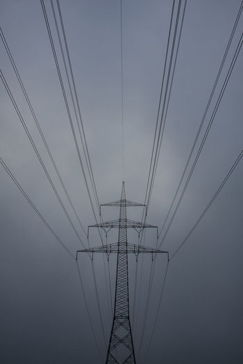 Autumn Cable Complexity Connection Day Electricity  Electricity Pylon Fog Foggy Fuel And Power Generation Grey Grey Sky Low Angle View Nature No People Outdoors Power Line  Power Supply Power Train Path Sky Technology