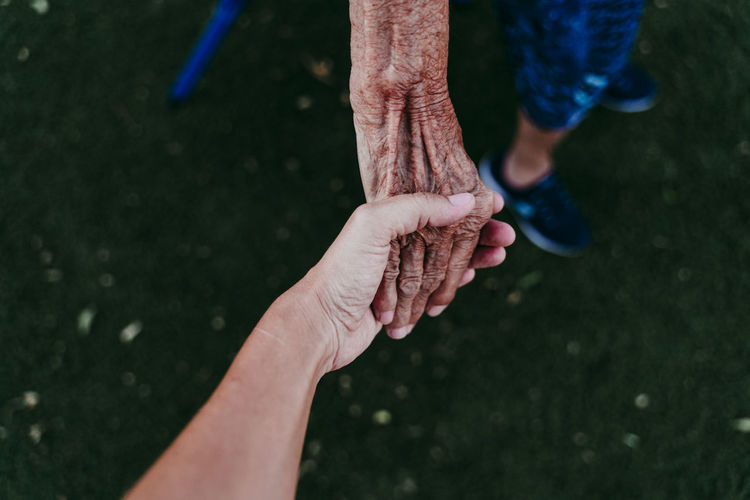 Close-up of person holding senior adult hand