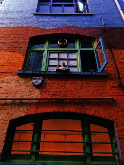 neal's yard Psychadelic Pop Buddha Window Low Angle View Colorpop Color Colour London Neal's Yard Brick Wall Wall Brick Adventures In The City