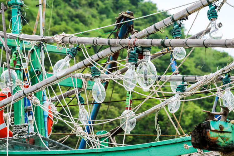 Close-up of ropes in playground