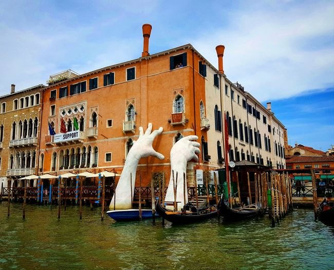 Venice Italy Sky Outdoors Building Exterior Built Structure Architecture Sea Water Beautiful Hands Biennale Biennale Architettura Cloud - Sky City Life Landscape Cityscape Venice Canals Art Venice View Architecture Perspective Horizon Over Water Enjoying The View Relax The Street Photographer - 2017 EyeEm Awards Live For The Story The Architect - 2017 EyeEm Awards The Great Outdoors - 2017 EyeEm Awards Your Ticket To Europe