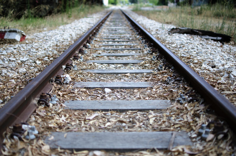 Iron LINE Rails Rust Day Gravel Metal Nature No People Outdoors Parallel Rail Transportation Railroad Tie Railroad Track The Way Forward Train Train Station Transportation Wood - Material