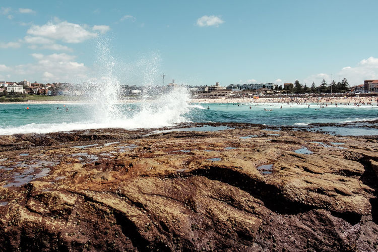 Australia Beach Beautiful Blue Bondi Beach Day Fresh Holiday Iconic Landscape Landscape_Collection Ocean Outdoors Postcard Rocks Sea Sky Summer Swimming Sydney Sydney, Australia Travel Destinations Turquoise Water Wave Lost In The Landscape